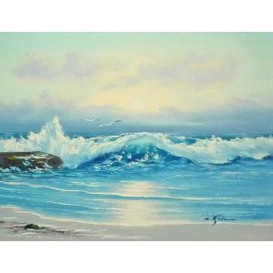 絵画 肉筆油絵 F6号 「波 海 海景画」-221-特価-|touo