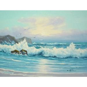 絵画 肉筆油絵 F6号 「波 海 海景画」-222-特価-|touo