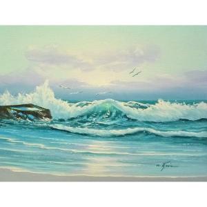 絵画 肉筆油絵 F6号 「波 海 海景画」-223-特価-|touo