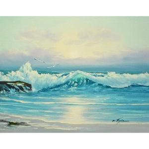 絵画 肉筆油絵 F6号 「波 海 海景画」-224-特価-|touo