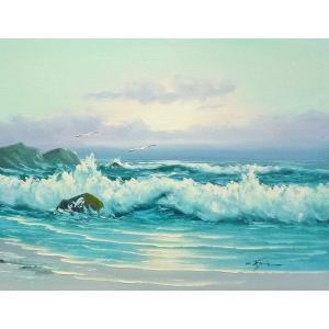絵画 肉筆油絵 F6号 「波 海 海景画」-225-特価-|touo
