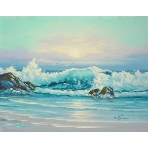 絵画 肉筆油絵 F6号 「波 海 海景画」-226-特価-|touo
