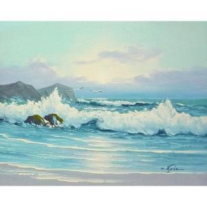 絵画 肉筆油絵 F6号 「波 海 海景画」-227-特価-|touo