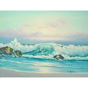 絵画 肉筆油絵 F6号 「波 海 海景画」-228-特価-|touo