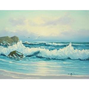 絵画 肉筆油絵 F6号 「波 海 海景画」-229-特価-|touo