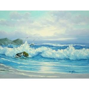 絵画 肉筆油絵 F6号 「波 海 海景画」-230-特価-|touo