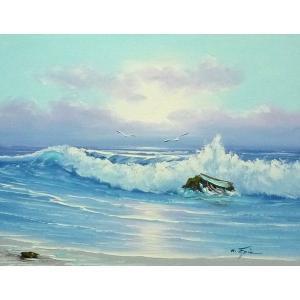 絵画 肉筆油絵 F6号 「波 海 海景画」-231-特価-|touo