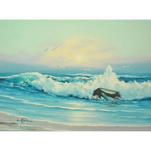 絵画 肉筆油絵 F6号 「波 海 海景画」-232-特価-|touo