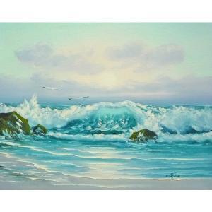 絵画 肉筆油絵 F6号 「波 海 海景画」-233-特価-|touo