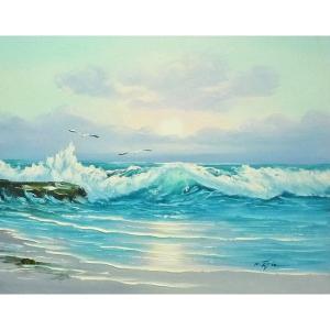 絵画 肉筆油絵 F6号 「波 海 海景画」-234-特価-|touo