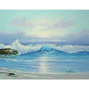 絵画 肉筆油絵 F6号 「波 海 海景画」-235-特価-|touo