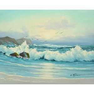 絵画 肉筆油絵 F6号 「波 海 海景画」-236-特価-|touo