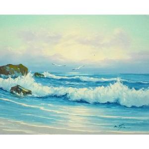 絵画 肉筆油絵 F6号 「波 海 海景画」-237-特価-|touo
