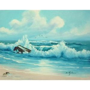 絵画 肉筆油絵 F6号 「波 海 海景画」-238-特価-|touo