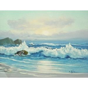 絵画 肉筆油絵 F6号 「波 海 海景画」-239-特価-|touo