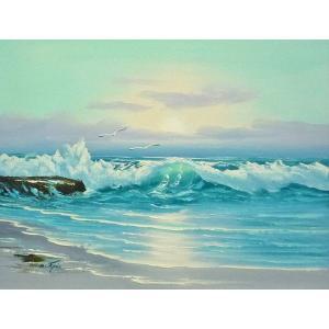絵画 肉筆油絵 F6号 「波 海 海景画」-240-特価-|touo