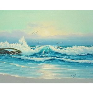 絵画 肉筆油絵 F6号 「波 海 海景画」-241-特価-|touo