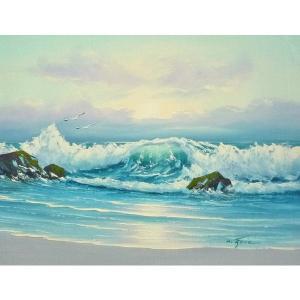 絵画 肉筆油絵 F6号 「波 海 海景画」-242-特価-|touo