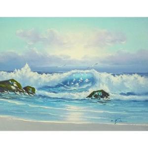 絵画 肉筆油絵 F6号 「波 海 海景画」-243-特価-|touo