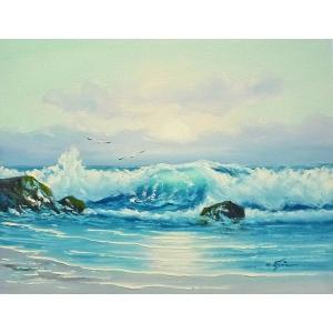 絵画 肉筆油絵 F6号 「波 海 海景画」-244-特価-|touo