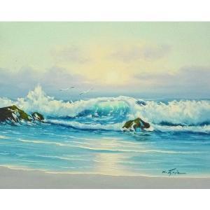 絵画 肉筆油絵 F6号 「波 海 海景画」-245-特価-|touo