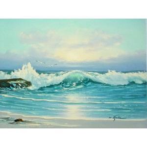 絵画 肉筆油絵 F6号 「波 海 海景画」-246-特価-|touo