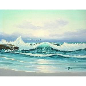 絵画 肉筆油絵 F6号 「波 海 海景画」-247-特価-|touo