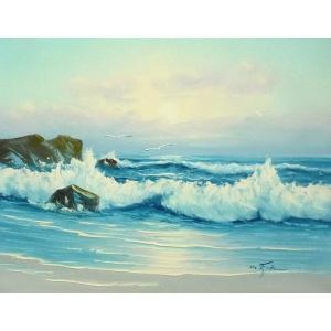 絵画 肉筆油絵 F6号 「波 海 海景画」-248-特価-|touo