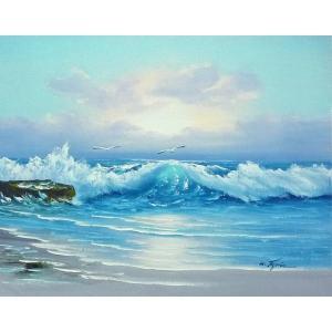 絵画 肉筆油絵 F6号 「波 海 海景画」-249-特価-|touo