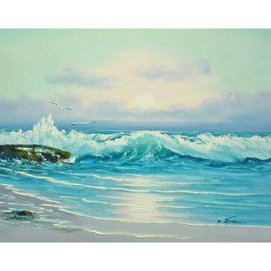 絵画 肉筆油絵 F6号 「波 海 海景画」-250-特価-|touo