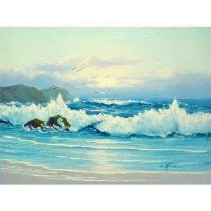 絵画 肉筆油絵 F6号 「波 海 海景画」-251-特価-|touo