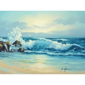 絵画 肉筆油絵 F6号 「波 海 海景画」-252-特価-|touo