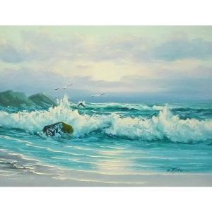 絵画 肉筆油絵 F6号 「波 海 海景画」-253-特価-|touo