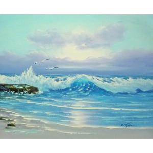 絵画 肉筆油絵 F6号 「波 海 海景画」-254-特価-|touo