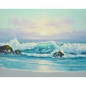絵画 肉筆油絵 F6号 「波 海 海景画」-255-特価-|touo