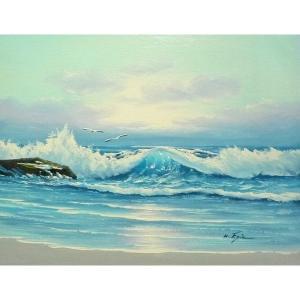 絵画 肉筆油絵 F6号 「波 海 海景画」-256-特価-|touo