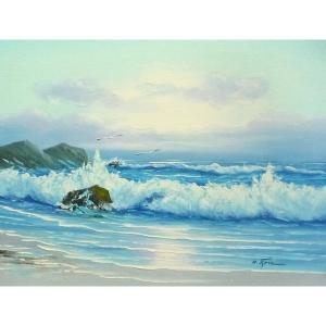 絵画 肉筆油絵 F6号 「波 海 海景画」-257-特価-|touo