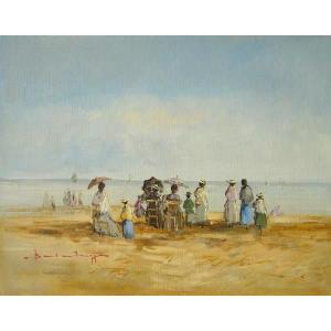 ヨーロッパ絵画 油絵 肉筆絵画 壁掛け (額縁 アートフレーム付きで納品対応可) サイズF6号 ベルブラッギ作 「海辺」|touo
