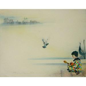 ヨーロッパ絵画 油絵 肉筆絵画 壁掛け (額縁 アートフレーム付きで納品対応可) サイズF6号 ヴィアネロ作 「ベニスのピエロ」 touo
