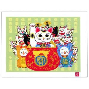 絵画 壁掛け 版画 リトグラフ 吉岡 浩太郎作 開運招き猫「笑門来福」|touo