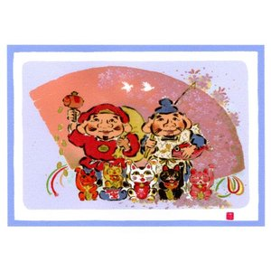 絵画 壁掛け 版画 リトグラフ 吉岡 浩太郎作 大開運七福神「幸運七福」|touo