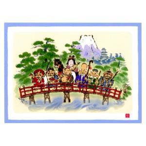 絵画 壁掛け 版画 リトグラフ 吉岡 浩太郎作 大開運七福神「七福神開運橋」|touo
