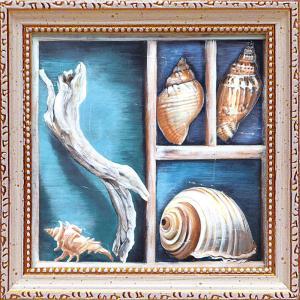 絵画 インテリア アートポスター 壁掛け (額縁 アートフレーム付き)付 テッド ブルーム「コレクション オブ メモリーズ1」|touo