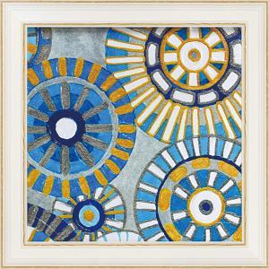 絵画 インテリア アートポスター 壁掛け (額縁 アートフレーム付き)付 デビー バンクス「サークル デライト3」 touo