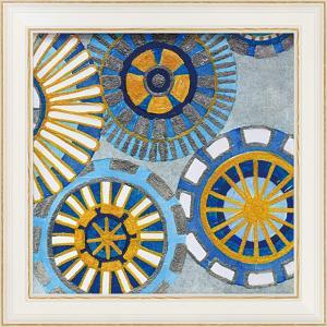 絵画 インテリア アートポスター 壁掛け (額縁 アートフレーム付き)付 デビー バンクス「サークル デライト4」 touo