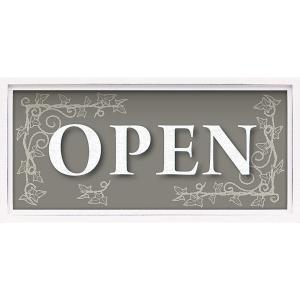絵画 インテリア アートポスター レターアート ミニフレーム 「オープン(ホワイトフレーム)」|touo