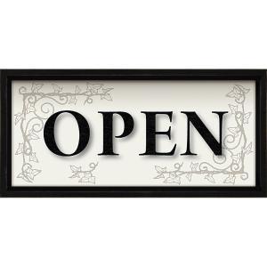 絵画 インテリア アートポスター レターアート ミニフレーム 「オープン(ブラックフレーム)」|touo