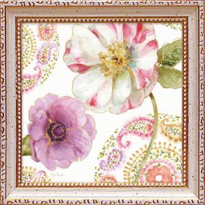 絵画 インテリア アートポスター 壁掛け (額縁 アートフレーム付き)付 リサ オーディット「レインボー シード ペイズリー1」|touo
