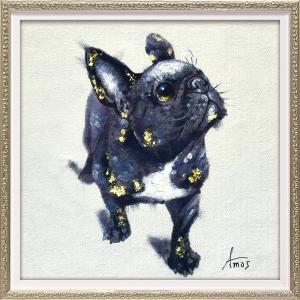 絵画 油絵 肉筆絵画 壁掛け (額縁 アートフレーム付き) オイル ペイント アート「ブラック ブル(Sサイズ)」|touo