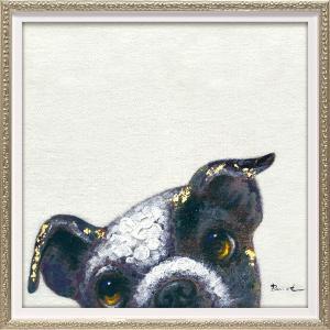 絵画 油絵 肉筆絵画 壁掛け (額縁 アートフレーム付き) オイル ペイント アート「ピーパ ドッグ1(Sサイズ)」|touo